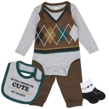 Baby Boy 4PC set – Think I'm Cute, You should see my Daddy