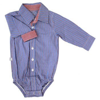 Business Shirt Bodysuit –  Blue/Red Stripe