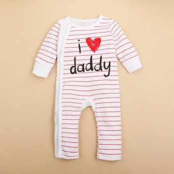 Baby Jumpsuit  Red Stripes – I Love Daddy
