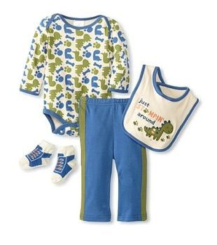Boys Long Sleeve 4 Piece Bodysuit set – Stomping Around