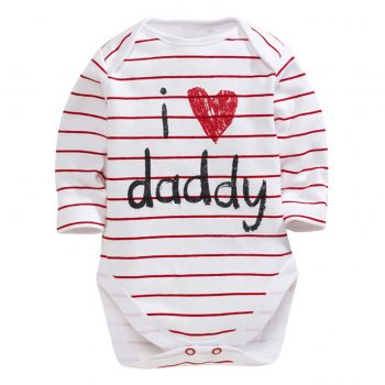 Bodysuit Long Sleeve Red Stripes – I Love Daddy