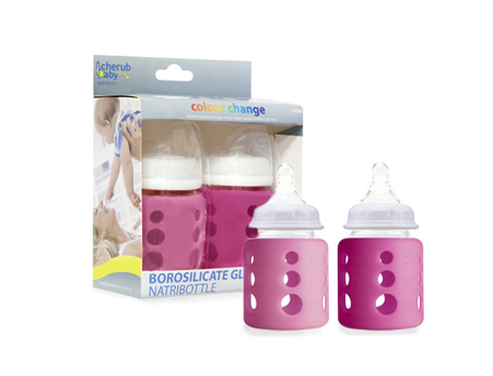 Glass Bottle Wide Neck 150ml Twin Pack – Pink