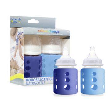 Glass Bottle Wide Neck 150ml Twin Pack – Blue