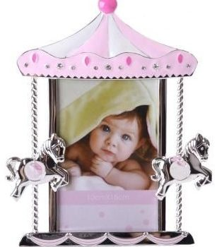 Carousel Photo Frame Pink and Silver