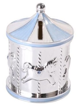 Carousel Money Box Blue and Silver