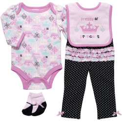 Girls Long Sleeve 4 Piece Bodysuit set – Princess