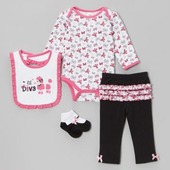 Girls Long Sleeve 4 Piece Bodysuit set – Lil' Diva
