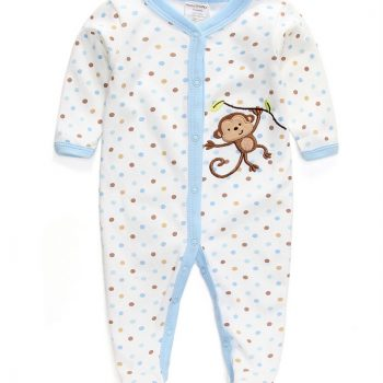 Boys Monkey Footed Jumpsuit – Blue