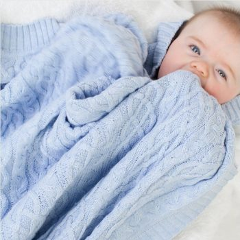 Bassinet Blanket – Traditional Cable Knit (Blue)