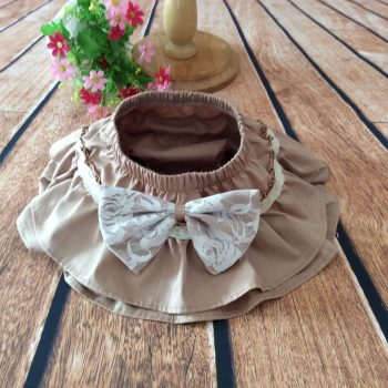 Ruffle Bottoms Cotton – Coffee with White bow
