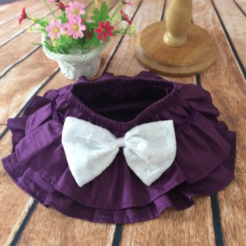 Ruffle Bottoms Cotton – Purple with White bow