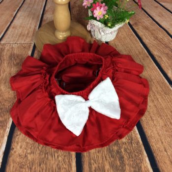 Ruffle Bottoms Cotton – Red with White bow