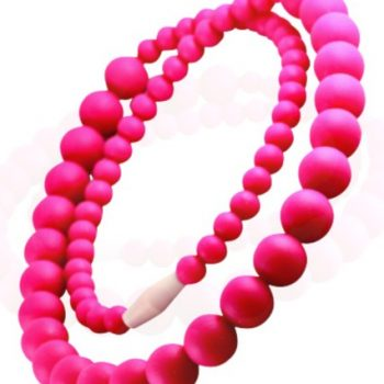 Teething Necklace Round Bead – Crimson