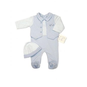 Baby Boy Vest Jumpsuit with Hat
