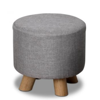 Artiss Fabric Round Ottoman – Grey