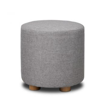 Artiss Fabric Round Ottoman – Light Grey