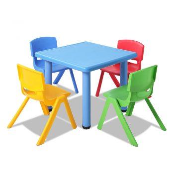 Keezi 5 Piece Kids Table and Chair Set – Blue