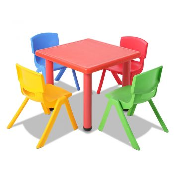 Keezi 5 Piece Kids Table and Chair Set – Red