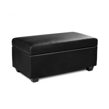 Artiss Faux PU Leather Storage Ottoman – Black