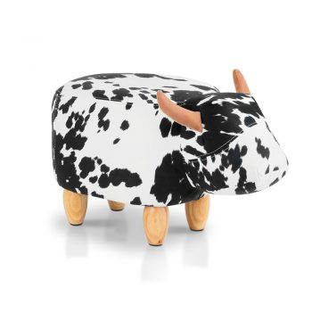 Artiss Kids Cow Animal Stool – Black & White