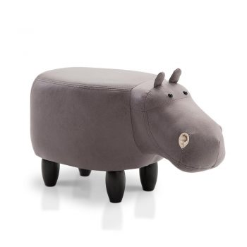Artiss Kids Hippo Animal Stool – Grey
