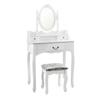 Artiss 3 Drawer Dressing Table with Mirror – White