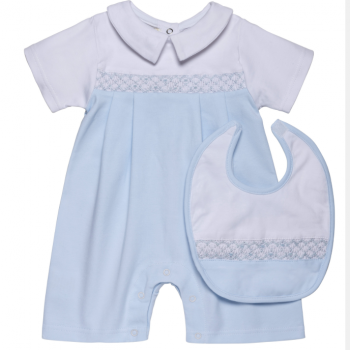 Blue Shortie Romper Bib Set