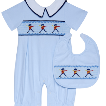 Blue English Soldier Romper Bib Set